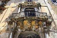 Piazza Bologni, Palazzo Alliata di Villafranca, historic part of Palermo, Sicily, Italy, Europe