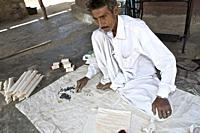 creation of shawls by Vankar Meghji Harji and his daughters in this small factory lost in the middle of the desert in the village of sanjot nagar, whi...