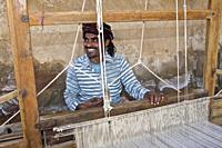designer Tana Bana, dyes and weaves her own creations, Sumrosar Shekh village, bujh road to the white run, kutch country, gujarat, india.