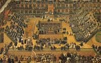 Auto-da-fe in the Plaza Mayor of Madrid. Painted by Francisco Ricci in 1683. Museo del Pradro, Spain.
