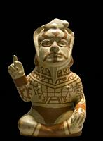 Madrid, Spain - Jul 11th, 2020: Moche culture vessel depicting chief in command attitude. Museum of the Americas, Madrid, Spain.