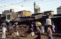 Dhaka, Bangladesh, Asia - An everyday street scene with people and buildings in the centre of the South Asian capital city.