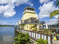 Stump Pass marina lighthouse at the Lighthouse Grill on Lemon Bay in Grove Coty Florida.