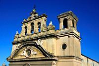 Front facade of Chiesa di San Giovanni degli Eremiti, St. John of the Hermits church, historic part of Palermo, Sicily, Italy, Europe