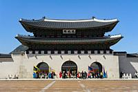 Seoul, South Korea, Asia - Exterior view of the Gwanghwamun gate at the Gyeongbokgung Palace, the largest of the Five Grand Palaces built by the Joseo...