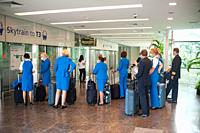 Singapore, Republic of Singapore, Asia - Pilots and flight attendants of the Dutch airline KLM are seen upon their arrival at Changi Airport's Termina...