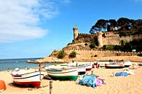 beach and old town of the village of Tossa de Mar, Girona province, Catalonia, Spain.