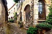 street of old town of Tossa de Mar, Girona province, Catalonia, Spain.