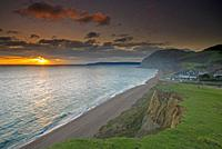 Sunset at Seatown with views of Golden Cap and Lyme Regis, Dorset, England, Uk.