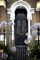 FRont Doorway with Gate and Agapanthus.