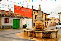 Town Hall square of Arbancon, Guadalajara, Spain.