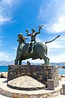 BULL, STATUE OF EUROPE, AGIOS NIKOLAOS, CRETE, GREECE,.