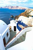 coastal landscape view from Santorini Greece.