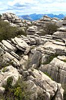 Natural Park El Torcal de Antequera and tourists, Malaga province, Andalucia, Andalusia, Andalusian, Spain, Europe.