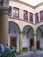 Caceres, Spain - 2019 nov 13th: Toledo-Moctezuma Palace Courtyard. Caceres historic quarter, Spain.