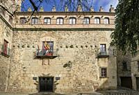 Toledo-Moctezuma Palace Facade. Caceres historic quarter, Spain.