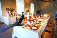 Interior view in Kalmar castle, Johan III:s Easter Dinner in the grey hall, Kalmar, Småland county, Sweden, Scandinavia.