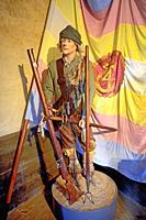 Armed peasant soldier from the Kalmar war 1611-1613 on Kalmar castle museum, Kalmar, Smaland, Sweden, Scandinavia.