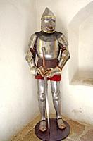 Knight on Kalmar castle museum, Kalmar, Smaland, Sweden, Scandinavia.