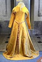 The Danish queen Margaret's (1353-1412) golden kirtle (much-disputed) on exhibition In Kalmar castle, Kalmar, Smaland, Sweden, Scandinavia.