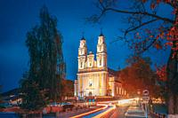 Hlybokaye Or Glubokoye, Vitebsk Region, Belarus. Church Of Sts. Trinity In Evening Night Lighting. Night View.