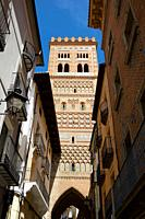 Mudejar tower of San Salvador in Teruel city, Aragon in Spain.