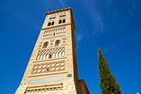 Mudejar tower of San Martin in Teruel city, Aragon in Spain.