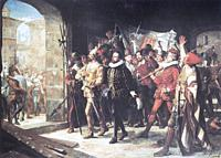Antonio Perez released from Prison by the Rebels in 1591. Perez was a Spanish statesman, secretary of king Philip II of Spain. Painted by Manuel Ferra...