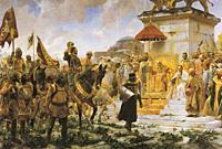 Entry of Roger de Flor in Constantinople. Painted by Jose Moreno Carbonero in 1888. Madrid, Palacio del Senado, Spain.