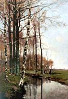 Bodifée Paul - Boerinnen Bij Een Sloot Langs Een Bosrand - Dutch School - 19th Century.