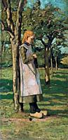 Bodifée Paul - Knitting in the Garden - Dutch School - 19th Century.