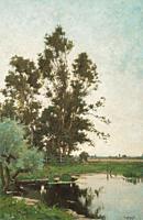 Bodifée Paul - Landschap Met Bomen Bij Het Water - Dutch School - 19th Century.