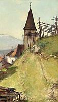 Bogaerts Jan - a Church in an Alpine Village - Dutch School - 19th Century.