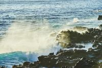 Landscape of rocks in the sea at Point State Park, Hawaiian Island Oahu, Hawaii, Aloha State, United States
