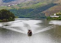 Pleasure boat on the Douro River near Pinhao, Vila Real District, Portugal. The Alto Douro WIne Region is a UNESCO World Heritage Site.