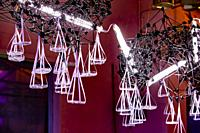 Lighted design cloud construction as a decor for the presentation of desserts, Strijp-S, Eindhoven, The Netherlands, Europe.