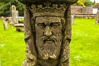 Tombs, churchyard, St Mary´s Abbey, Melrose Abbey, ruined monastery of the Cistercian order, Melrose, Scottish Borders, Scotland, United Kingdom, Euro...