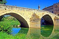 Matarraña river and San Roque bridge, Valderrobres, Teruel, Spain