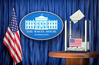 US Presidentilal Election concept. Ballot box with USA flags and sign of White House. 3d illustration.