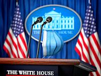 Mask on microphone in White House. Coronavirus COVID 19 of president of USA concept. 3d illustration.