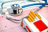 Stop smoking concept. Stethoscope, pack of cigarettes and electrocardiogram report. Examination of heart. 3d illustration.