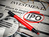 IPO Initial public offering concept. Where to Invest concept, Investments newspaper with loupe and marker. 3d illustration.