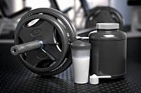 Whey protein can with barbell and shaker on the floor of gym. Mock up. Sports bodybuilding supplements and nutrition. 3d illustration.