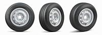 Set of car wheels with tyres for vans and trucks isolated on white background. 3d illustration.