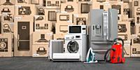 Household appliances and kitchen electronics in cardboard boxes in warehouse. Online purchase, shopping and delivery concept. 3d illustration.