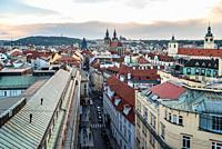High angle view of historic centre of Prague.