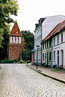 Last Tower or Water Tower monument in historic centre of Wismar, Germany.