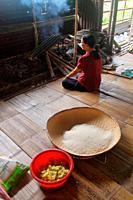 Bidayu women preparing food, kuching, sarawak, borneo