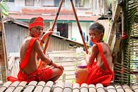 Bidayuh Children with Traditional Costume, Sarawak, Malaysia