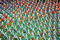 Pyongyang, North Korea, Asia - Mass choreography and Artistic Performance with dancers and acrobats at the May Day Stadium during the Arirang Mass Gam...